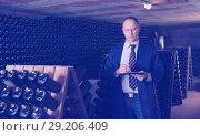 Купить «Wine producer with clipboard in wine cellar», фото № 29206409, снято 22 января 2018 г. (c) Яков Филимонов / Фотобанк Лори
