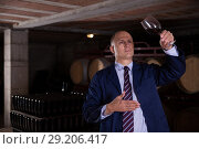 Купить «Sommelier tasting red wines in winery basement», фото № 29206417, снято 22 января 2018 г. (c) Яков Филимонов / Фотобанк Лори