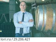 Купить «Winemaker standing in wine cellar», фото № 29206421, снято 22 января 2018 г. (c) Яков Филимонов / Фотобанк Лори