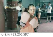 Купить «Girl in gloves posing during boxing training at gym», фото № 29206597, снято 12 апреля 2017 г. (c) Яков Филимонов / Фотобанк Лори