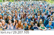 Купить «Russia Samara September 2017: Top view of a large dense crowd of spectators at a festival in the park.», фото № 29207105, снято 17 сентября 2017 г. (c) Акиньшин Владимир / Фотобанк Лори