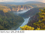 Купить «Panorama of the Ural taiga at dawn. Morning fog. Bashkortostan.», фото № 29214633, снято 9 сентября 2017 г. (c) Акиньшин Владимир / Фотобанк Лори