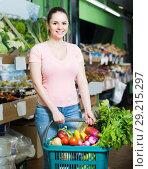 Купить «woman with basket with fresh greengrocery enjoying purchases in vegetable store», фото № 29215297, снято 14 октября 2017 г. (c) Яков Филимонов / Фотобанк Лори
