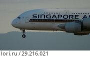 Купить «Airbus A380 approaching before landing», видеоролик № 29216021, снято 21 июля 2017 г. (c) Игорь Жоров / Фотобанк Лори