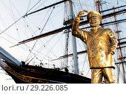 Купить «In honour of Captain Birds Eye's 50th anniversary, frozen food brand Birds Eye has today unveiled a golden statue of the national icon. The commemorative...», фото № 29226085, снято 31 августа 2017 г. (c) age Fotostock / Фотобанк Лори