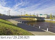 Купить «Омск.Полностью реконструированный Юбилейный мост через реку Омь», фото № 29230821, снято 9 октября 2018 г. (c) Круглов Олег / Фотобанк Лори