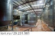 Купить «winery factory with stell barrels», фото № 29231981, снято 17 октября 2018 г. (c) Яков Филимонов / Фотобанк Лори