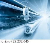 Купить «Speed of train and plane traveling», фото № 29232045, снято 21 октября 2018 г. (c) Яков Филимонов / Фотобанк Лори