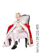 Купить «Cute boy wearing costume of a king», фото № 29232405, снято 26 сентября 2015 г. (c) Сергей Сухоруков / Фотобанк Лори