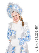 Купить «Portrait of cheerful young woman», фото № 29232481, снято 26 сентября 2015 г. (c) Сергей Сухоруков / Фотобанк Лори