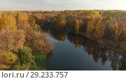 Купить «Flight over Izmaylovo Park and pond in Moscow, Russia», видеоролик № 29233757, снято 18 июля 2019 г. (c) Володина Ольга / Фотобанк Лори