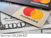 Купить «Bank cards of the mastercard close-up. Cheboksary, Chuvash Republic, Russia, 18/03/2018.», фото № 29234921, снято 15 октября 2018 г. (c) Александр Якимов / Фотобанк Лори