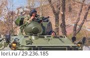 Купить «Russia, Samara, May 2018: BTR-82 armored personnel carrier on a summer sunny day.», фото № 29236185, снято 5 мая 2018 г. (c) Акиньшин Владимир / Фотобанк Лори