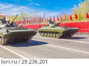 Купить «Russia, Samara, May 2018: Tracked infantry fighting vehicle BMP-2.», фото № 29236201, снято 5 мая 2018 г. (c) Акиньшин Владимир / Фотобанк Лори