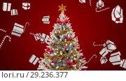 Купить «Christmas tree and falling Christmas gifts and candy», видеоролик № 29236377, снято 31 мая 2020 г. (c) Wavebreak Media / Фотобанк Лори