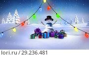 Купить «Snowman with Christmas lights and gifts», видеоролик № 29236481, снято 16 октября 2018 г. (c) Wavebreak Media / Фотобанк Лори