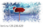 Купить «Christmas snowflake border with arrow sign in Winter landscape», видеоролик № 29236629, снято 17 января 2020 г. (c) Wavebreak Media / Фотобанк Лори