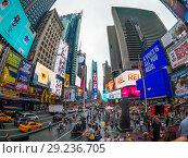 Time Square day time cityscape (2018 год). Редакционное фото, фотограф Антон Гвоздиков / Фотобанк Лори