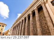 Купить «Columns of Hadrians Temple in Piazza di Pietra», фото № 29237097, снято 7 ноября 2013 г. (c) Евгений Ткачёв / Фотобанк Лори