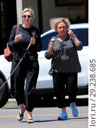 Купить «Jane Lynch goes out for ice cream at McConnell's with her dog Rumi and a friend Featuring: Jane Lynch Where: Beverly Hills, California, United States When: 13 Jul 2018 Credit: WENN.com», фото № 29238685, снято 13 июля 2018 г. (c) age Fotostock / Фотобанк Лори