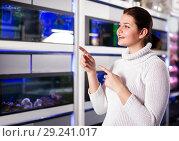 Купить «Young girl in aquarium shop is looking at different colored fish», фото № 29241017, снято 17 февраля 2017 г. (c) Яков Филимонов / Фотобанк Лори