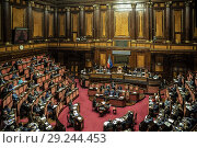 Купить «View of the Senate during the report of Prime Minister Giuseppe Conte in Rome, ITALY-16-10-2018.», фото № 29244453, снято 16 октября 2018 г. (c) age Fotostock / Фотобанк Лори