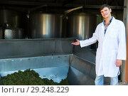 Купить «Man showing process of winemaking», фото № 29248229, снято 13 сентября 2018 г. (c) Яков Филимонов / Фотобанк Лори