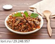Купить «Buckwheat porridge with mushrooms in a plate on a wooden table. Vegetarian cuisine.», фото № 29248957, снято 16 октября 2018 г. (c) Элина Гаревская / Фотобанк Лори