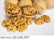 Купить «Грецкие орехи на белом фоне крупным планом», фото № 29249397, снято 17 октября 2018 г. (c) Елена Коромыслова / Фотобанк Лори