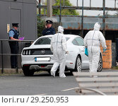 Купить «Police at the scene of a shooting at Bray Boxing Club, which is run by Pete Taylor, father of world boxing champion Katie Taylor. A 50 year old man died...», фото № 29250953, снято 5 июня 2018 г. (c) age Fotostock / Фотобанк Лори