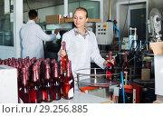 Купить «Woman working on final section of wine production on factory», фото № 29256885, снято 21 сентября 2016 г. (c) Яков Филимонов / Фотобанк Лори