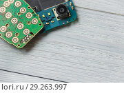 Printed Circuit Board with many electrical components with copyspace. Стоковое фото, фотограф Максим Бейков / Фотобанк Лори
