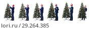 Купить «Businessman decorating christmas tree isolated on white», фото № 29264385, снято 21 сентября 2017 г. (c) Elnur / Фотобанк Лори