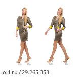 Купить «Blondie in gray satin dress isolated on white», фото № 29265353, снято 17 сентября 2014 г. (c) Elnur / Фотобанк Лори