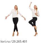 Pretty girl in office attire isolated on white. Стоковое фото, фотограф Elnur / Фотобанк Лори
