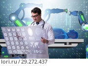 Купить «Telehealth concept with doctor doing remote check-up», фото № 29272437, снято 26 марта 2019 г. (c) Elnur / Фотобанк Лори