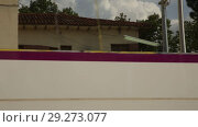 Купить «Rodalies tren in motion near Barcelona. Catalonia, Spain», видеоролик № 29273077, снято 9 сентября 2018 г. (c) Яков Филимонов / Фотобанк Лори
