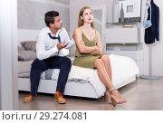 Купить «Husband calming upset wife after dispute», фото № 29274081, снято 24 сентября 2018 г. (c) Яков Филимонов / Фотобанк Лори