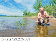 Купить «Male fisherman with caught fish on the bank of the river on a sunny summer day.», фото № 29276089, снято 1 июля 2018 г. (c) Акиньшин Владимир / Фотобанк Лори