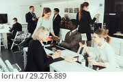 Купить «business people chatting while enjoying coffee», фото № 29276889, снято 10 марта 2018 г. (c) Яков Филимонов / Фотобанк Лори