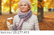 Купить «senior woman drinking coffee in autumn park», видеоролик № 29277413, снято 22 октября 2018 г. (c) Syda Productions / Фотобанк Лори