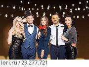 Купить «happy friends with party props posing», фото № 29277721, снято 3 марта 2018 г. (c) Syda Productions / Фотобанк Лори
