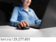 Купить «close up of businesswoman using computer mouse», фото № 29277801, снято 3 января 2018 г. (c) Syda Productions / Фотобанк Лори
