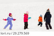 Купить «happy little kids playing outdoors in winter», фото № 29279569, снято 10 февраля 2018 г. (c) Syda Productions / Фотобанк Лори
