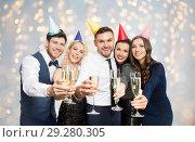 Купить «friends with champagne glasses at birthday party», фото № 29280305, снято 3 марта 2018 г. (c) Syda Productions / Фотобанк Лори