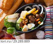Купить «Chicken hearts salad with peach, pear, grilled cheese and quail eggs», фото № 29289889, снято 10 декабря 2018 г. (c) Яков Филимонов / Фотобанк Лори