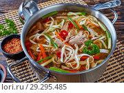 Купить «overhead view of duck noodle soup», фото № 29295485, снято 19 октября 2018 г. (c) Oksana Zh / Фотобанк Лори