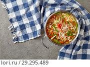 Купить «overhead view of duck noodle vegetables soup», фото № 29295489, снято 19 октября 2018 г. (c) Oksana Zh / Фотобанк Лори