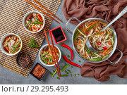 Купить «poultry udon noodle vegetables soup in bowls», фото № 29295493, снято 19 октября 2018 г. (c) Oksana Zh / Фотобанк Лори