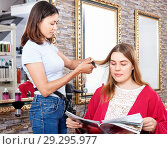Купить «Young woman hairdresser working with female's hair in hairdressing salon», фото № 29295977, снято 25 апреля 2018 г. (c) Яков Филимонов / Фотобанк Лори